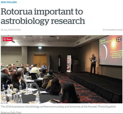 Rotorua important to astrobiology research – NZAN in New Zealand Herald